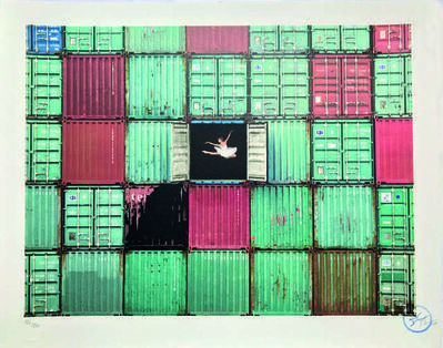 JR, 'The ballerina jumping in containers, Le Havre, France', 2014