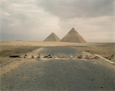 Richard Misrach, 'Road Blockade and Pyramids ', 1989