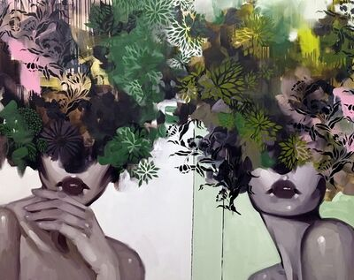 "Anna Kincaide, '""Friend or Foe"" oil painting of two woman with green, pink and black floral bouquets over their heads', 2017"