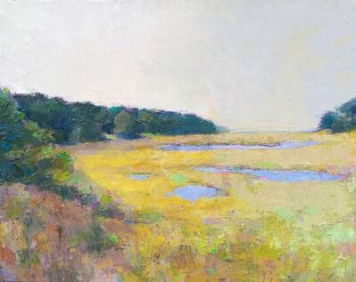 """Larry Horowitz, '""""Pastel Marsh"""" Painterly Landscape in Bright Yellows, Dark Greens and Blues', 2010-2018"""