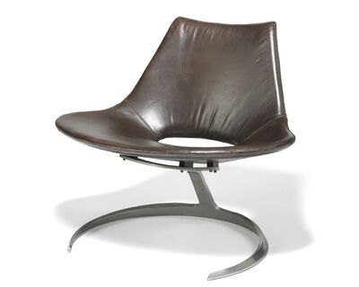 """Preben Fabricius, '""""Scimitar"""". A pair of lounge chairs with steel frame. Seat and back upholstered with dark brown coloured leather'"""