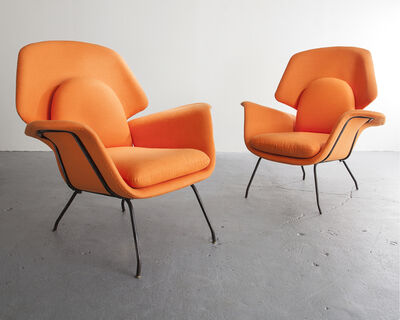 Carlo Hauner, 'Pair of orange upholstered armchairs with iron frames', ca. 1950