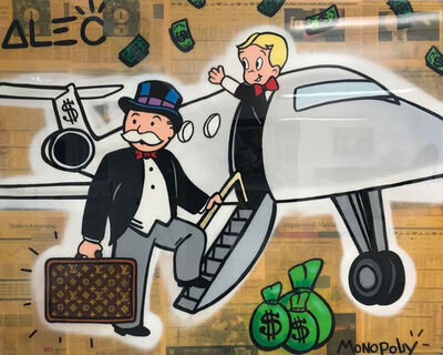Alec Monopoly, 'RICHIE & MONOPOLY PJ WITH LV LUGGAGE', 2018