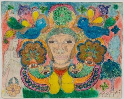 Minnie Evans, 'Unititled (Face, Angel & Blue Birds) ', 1977