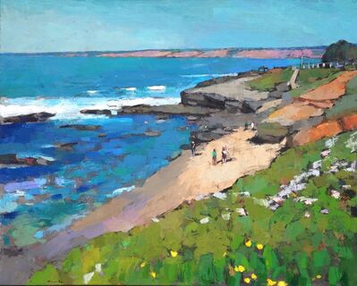 """Larry Horowitz, '""""La Jolla"""" oil painting of California beach with turquoise ocean, green grass and cliffs', 2010-2017"""