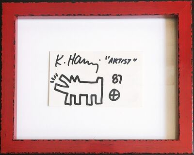 """Keith Haring, '"""" Artist"""", Unique signed drawing, from the Estate of UACC President Cordelia Platt', 1987"""