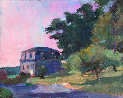 """Larry Horowitz, '""""Jules Besch"""" oil painting of a house with a pink sunset', 2018"""