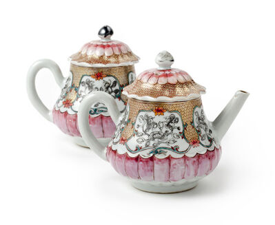 Porcelain, 'A pair of Chinese famille rose lotus-shaped teapots and covers', Yongzheng, 1723, 1735