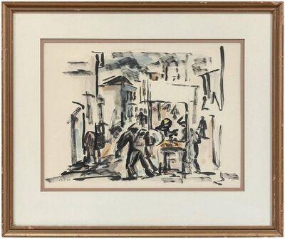 David Hendren, 'UNTITLED (ABSTRACT ISRAELI MARKET TOWN SCENE)', Mid-20th Century