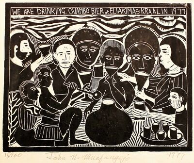John Muafangejo, 'WE are drinking Ovambo Bier at Eliakimas in 1977', 1977