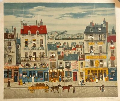 Michel Delacroix, 'Hand signed Folk Art Naive lithograph on Japon Paper Paris Street Scene', 20th Century