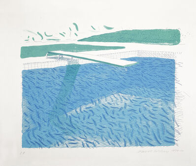 David Hockney, 'Lithographic Water Made of Lines, Crayon, and Two Blue Washes', 1978-1980