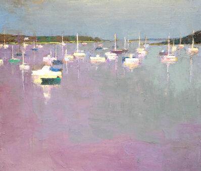 "Larry Horowitz, '""Mauve Harbor"" oil painting of Edgartown Harbor in pastel pink and lavender tones', 2010-2018"
