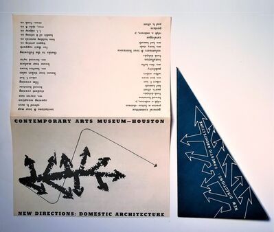 """Frank Lloyd Wright, '""""New Directions: Domestic Architecture"""" , 1952, Group Show, Mailer/ Party Invitation, Contemporary Arts Museum Houston', 1952"""