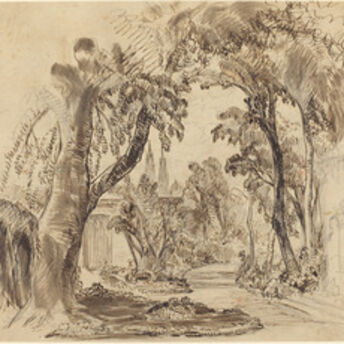 """Robert Caney, 'A Tree-lined Garden Path (Preliminary Sketch for """"Sleeping Beauty and the Beast""""?)', 1900?"""