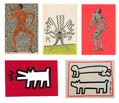 """Keith Haring, 'Set of 5 Invitations- """"Painted Man"""" 1983, POP SHOP NYC 1980's, Club DV8 1987', 1980's"""