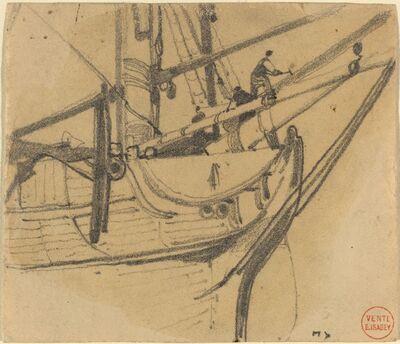 Eugène Isabey, 'Men Repairing the Boom'