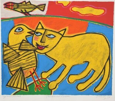 Guillaume Corneille, 'Jeux entre chat et oiseau ', 1994