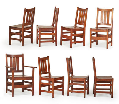 L. & J.G. Stickley, 'Assembled set of eight dining chairs, seven side-, one arm-, Fayetteville, NY', 1910s