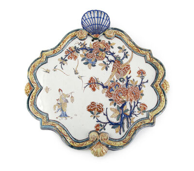 Delftware, 'Chinoiserie plaque with a lady holding a lantern', ca. 1770