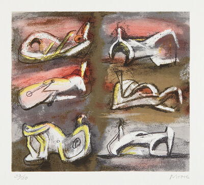 Henry Moore, 'Six Reclining Figures with Red Background', 1981