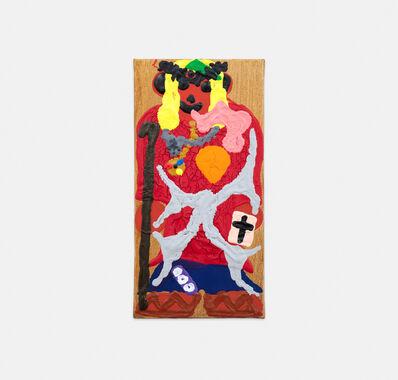 Philipp Schwalb, 'Nakki (Jesuz) mit Gegen-die-Kultur (Silberkette mit Identifikationssymbol, heiliger Dornenkranz, Silverlendentuch, Sprache, Geldschein (000), geweihter Stab,  Ledersandalen, heilige Schriften mit Glaubenssymbol (Bibel), Golduhr) in religiöz-blaurotgelber  Kleidung', 2015