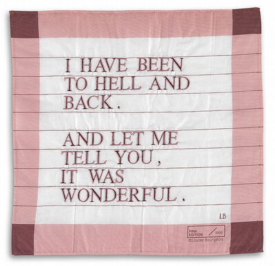 Louise Bourgeois, 'I Have Been to Hell and Back Handkerchief (pink/purple)', 1996