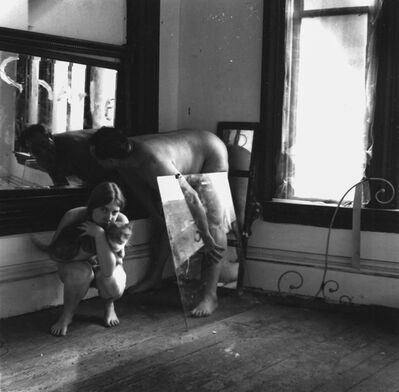 Francesca Woodman, 'Untitled (Self-portrait with Cat and Charlie), Providence, Rhode Island', 1976-1977