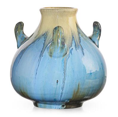 Fulper Pottery, 'Small vase with handles, Chinese Blue and ivory flambé glaze, Flemington, NJ', ca. 1920