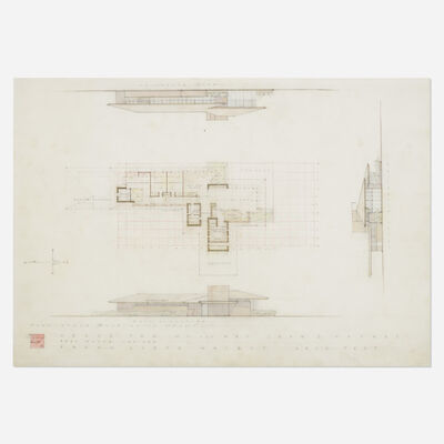 Frank Lloyd Wright, 'Elevation for the John D. Haynes House, Fort Wayne, Indiana', 1950