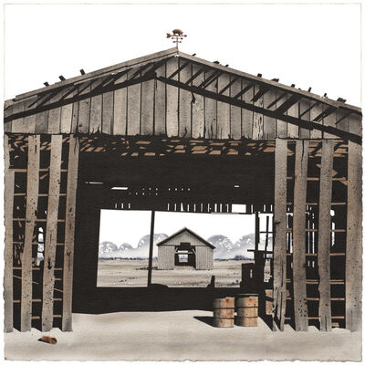 George Dombek, 'Madison County Barn with Barrels', 2017