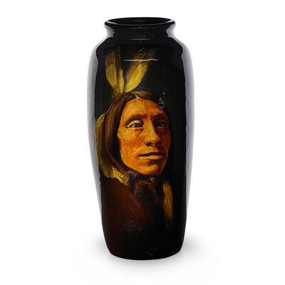"Rookwood Pottery, 'Standard Glaze American Indian portrait vase, ""Lone Elk Sioux""', 1901"