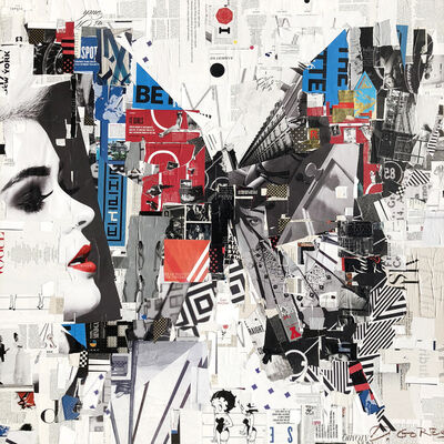 """Derek Gores, '""""Not Waiting in the Wings"""" collage of a butterfly with black, red, blue and white', 2015-2019"""