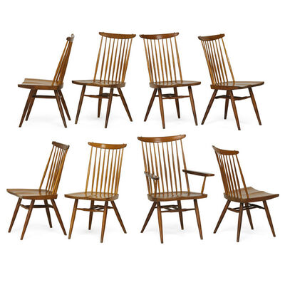 Nakashima Studio, 'Eight New chairs, one arm-, seven side-, New Hope, PA', 1958