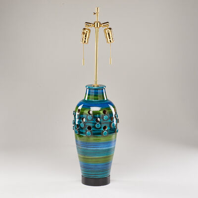Bitossi, 'Blue and green table lamp with cut-outs and applied discs'