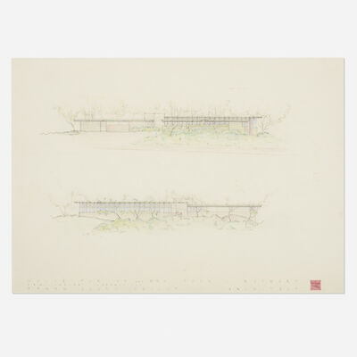 Frank Lloyd Wright, 'Presentation drawing for the John L. Rayward House, New Canaan, Connecticut', 1955