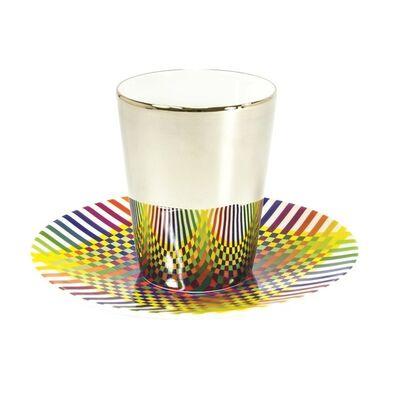 Julio Le Parc, 'Surface Colorée B29: Platinum Espresso Cups + Saucers (Set of 2)', 2016