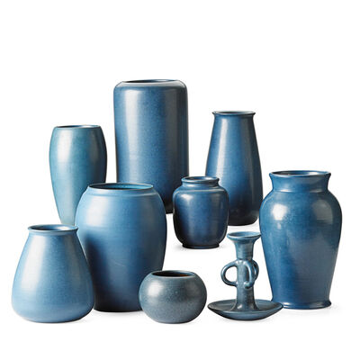 Marblehead Pottery, 'Eight Blue Vases And One Candlestick, Marblehead, MA', Early 20th C.