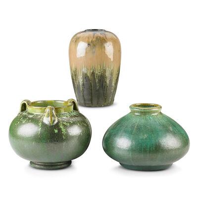 Fulper Pottery, 'Three Vases (One Prang), Leopard Skin Crystalline, Cucumber Green and Experimental Flambé Glazes, Flemington, NJ', 1910s-20s