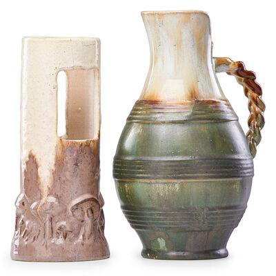 Fulper Pottery, 'Ikebana Vase In Elephant's Breath Glaze And Pitcher With Braided Handle In Flambé Glaze, Flemington, NJ', 1910s-20s