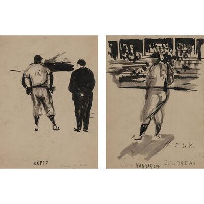 Elaine de Kooning, 'Lopez and Ump; Baseball #5A Kansas City, Lou Boudreau', 1956