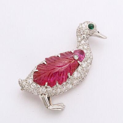 Raymond Yard, 'Pavé Diamond Duck Brooch '