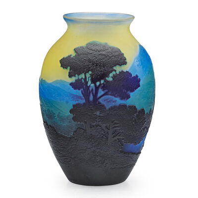 Galle, 'Small Vase With Mountainous Landscape, France', Early 20th C.