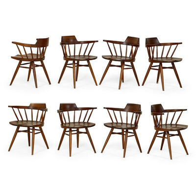 Nakashima Studio, 'Set of eight Captain's chairs, New Hope, PA', 1974
