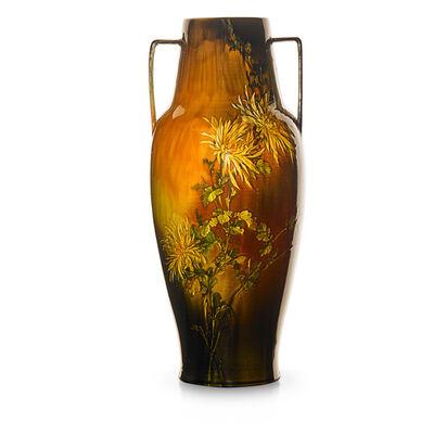 Albert Valentien, 'Large early Standard Glaze Light vase with chrysanthemums, Cincinnati, OH', 1888