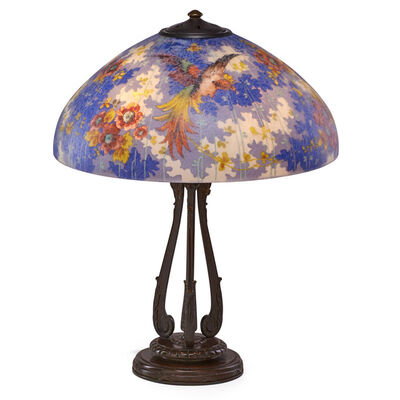 Handel, 'Fine table lamp with birds of paradise and roses on classical scrolling base, Meriden, CT', ca. 1925