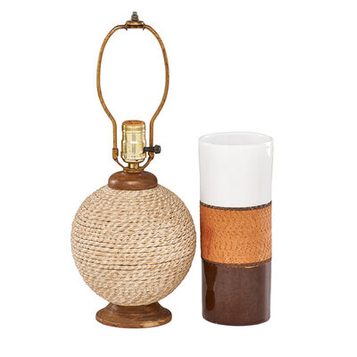 Ugo Zaccagnini, 'Two ceramic pieces: small table lamp with faux wood and wrapped rope, and partially glazed terracotta cylinder vase', ca.1960s