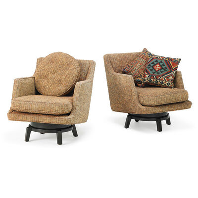 Edward Wormley, 'Pair of swivel lounge chairs, Berne, IN', 1960s