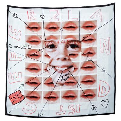 """Jonathan Meese, '# 5 SAALEVOLUTYR DE BABYHUMPTY-DUMPTY'S ERZSTOFFKUSCHELTUCH """"HERMETIK IM BLUT"""" (KUSSMUND DER SPOCKLOGIK)', 2013"""