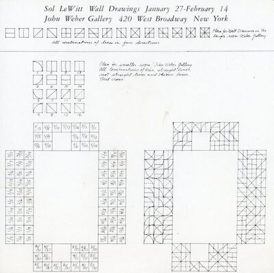 Sol LeWitt, 'John Weber Gallery, Sol Lewitt, Wall Drawings, Card', 1974